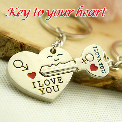 """2pcs Couples Lovers Metal Key Chain Ring """"Key To My Heart"""" I LOVE YOU Silver"""