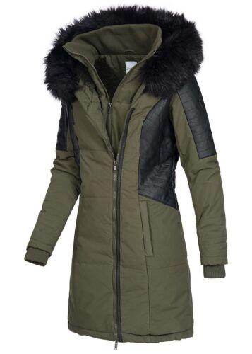 56/% OFF B18119028 Damen 77 Lifestyle Jacke Winter Mantel Kunstlederdetail khaki