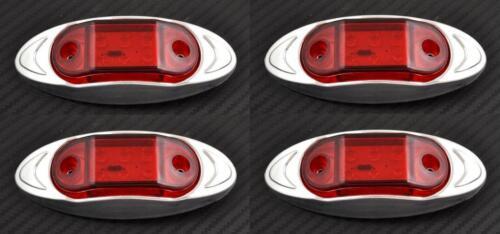 4x 6 Led Rosso 12V Lato Posteriore Cromata Luci di Ingombro Auto SUV Pick-Up