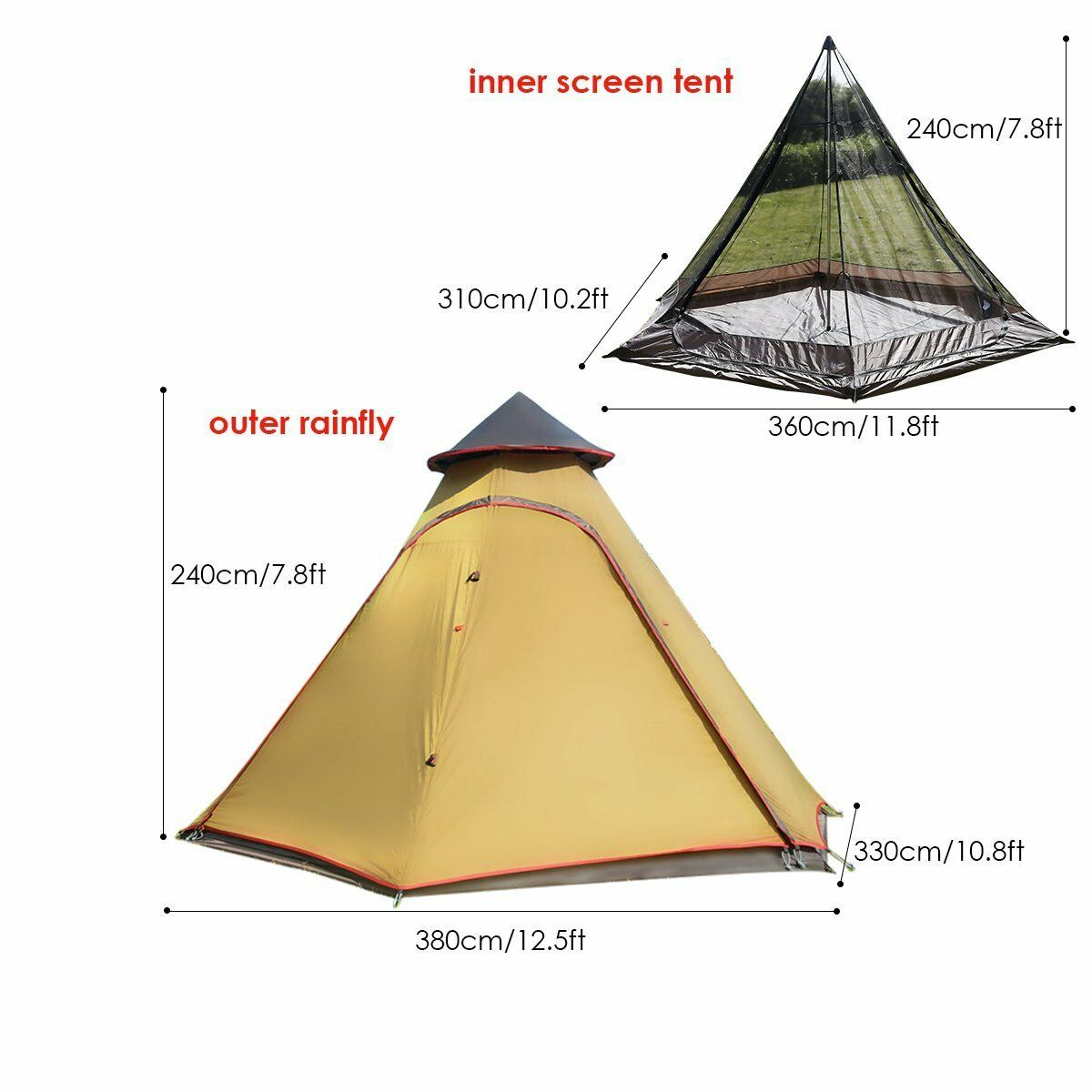 Double Door Waterproof Mesh Teepee Camping Tipi Family Tent Double Skin 4person
