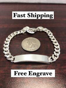 56cea92d1d5f Details about Man's 925 Pure Silver Cuban ID Bracelet, Pulsera Esclava Para  Hombre De Plata
