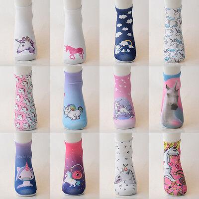 1 Pair Stylish Design Animal Unicorn Casual Girls&Boys  Low Cut Ankle Socks Gift