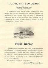 Atlantic City, New Jersey, Hotel Luray, Seaside Resort, Vintage 1898 Antique Ad