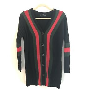 Nana-Macs-Women-039-s-Button-Cardigan-Black-Green-Red-Medium-Preppy-CHRISTMAS