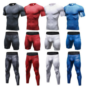 Mens-Workout-Compression-Shirts-Long-Pants-Shorts-Outfits-Gym-Tights-Sportswear