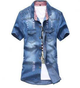 2020-Men-039-s-Cotton-Denim-Shirt-Hole-Cowboy-Shirts-Short-Sleeve-Pockets-Jeans-Tops