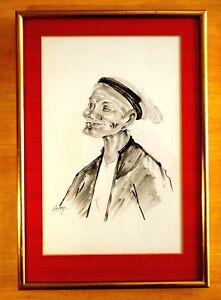 VIETNAMESE-INK-DRAWING-ON-SILK-Wonderful-Smiling-Elder-Woman-Signed-BEKY-Framed