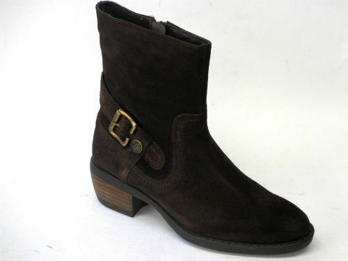 SALE LADIES HUSH PUPPIES PENNINE LEATHER ZIP FASTENING ANKLE BOOT BROWN