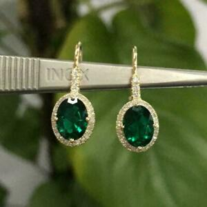 2-80-Ct-Oval-Cut-Emerald-Lever-Back-Drop-Dangle-Earrings-14K-Yellow-Gold-Finish