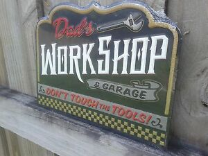 DAD'S WORKSHOP AND GARAGE EMBOSSED METAL SIGN RAISED LETTERS 10.5 BY 8 INCHES