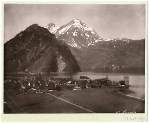 Suisse-Stansstad-commune-suisse-du-canton-de-Nidwald-vue-panoramique-Vintage