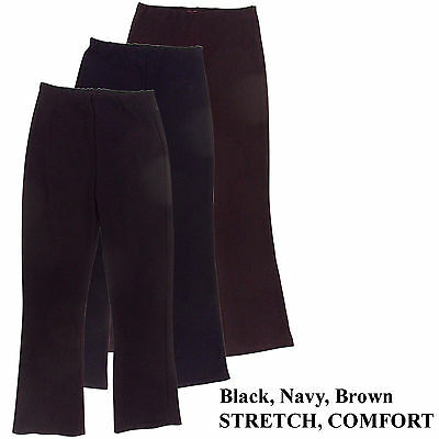 New Ladies Stretch Pull On Ribbed Pants Trousers Work Wear Leisure Gym Plus Size GläNzende OberfläChe
