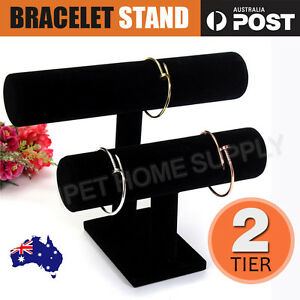 2-tier-Black-Removable-Velvet-Jewelry-Display-Bracelet-Rack-Show-Watch-Holder