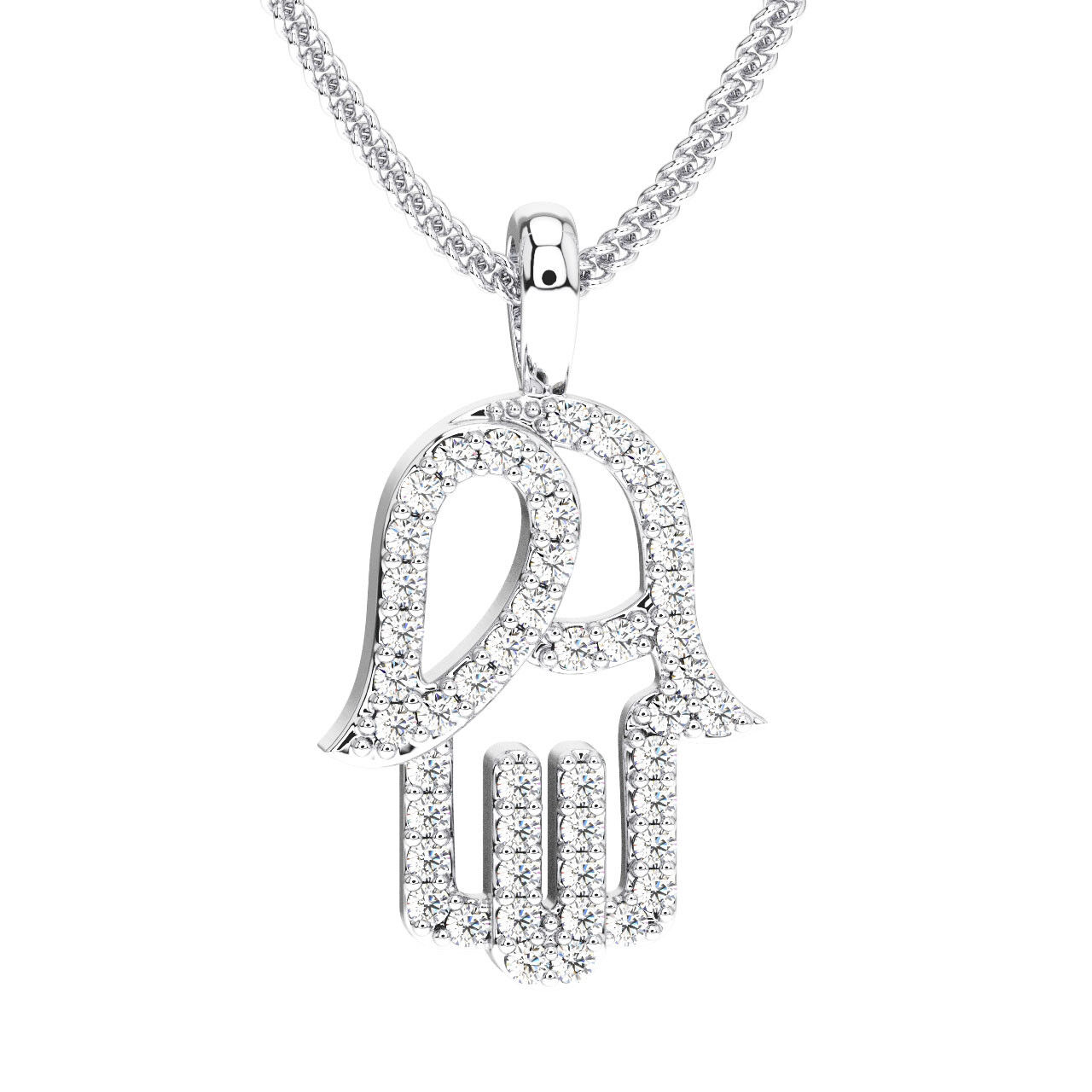 0.25 Carat Round Brilliant Cut Diamonds Hamsa Evil Hand Pendant In Platinum