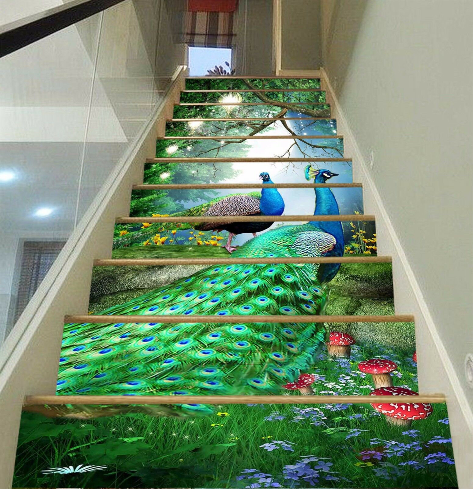 3D Peacocks 108 Stairs Risers Decoration Photo Mural Vinyl Decal Wallpaper US