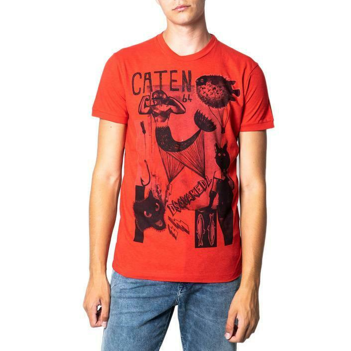 Dsquared2 T-Shirt Red Man Print Graphics Card