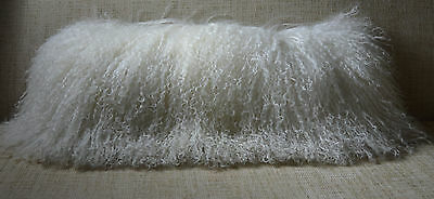 Mongolian Lamb Pillow White Natural Tibet real genuine fur cushion with insert