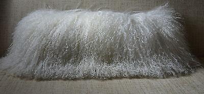 Mongolian Lamb Pillow White Natural Tibet real genuine fur cushion with insert