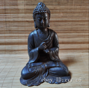 "8/"" China rare antique Handmade Old iron Like Buddha statue"