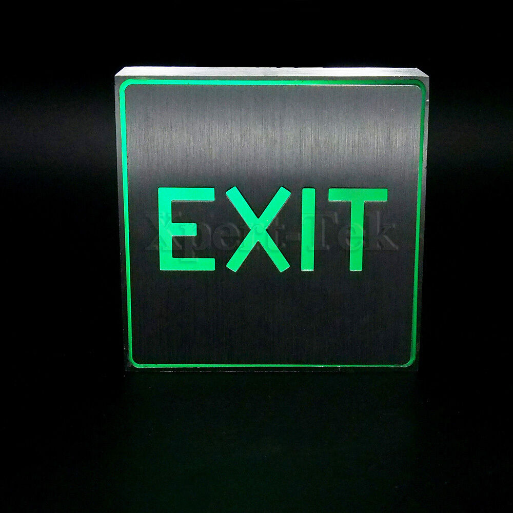 Wall Mounted Exit Lights : Silver Aluminum Green LED Light Restroom EXIT Sign Bar KTV Club Wall Mount