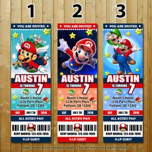 Super Mario Bros Custom Printed Ticket Birthday Invitations 10 With