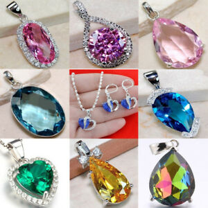 Lot-925-Sterling-Silver-Sapphire-Rubby-Pendant-For-Necklace-Earring-Jewelry-Gift