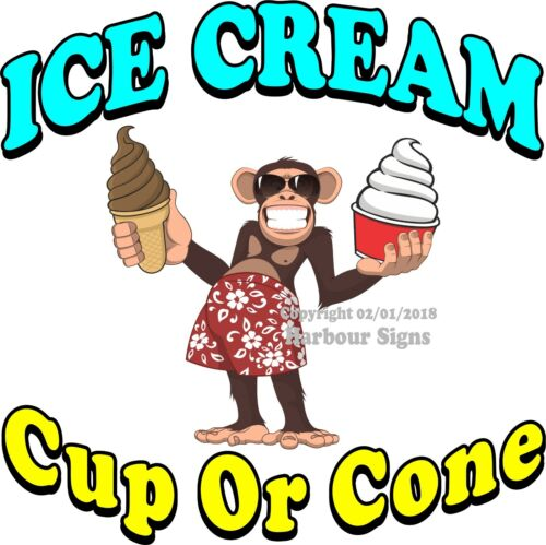 Ice Cream Cup or Cone DECAL Concession Food Truck Sticker Choose Your Size