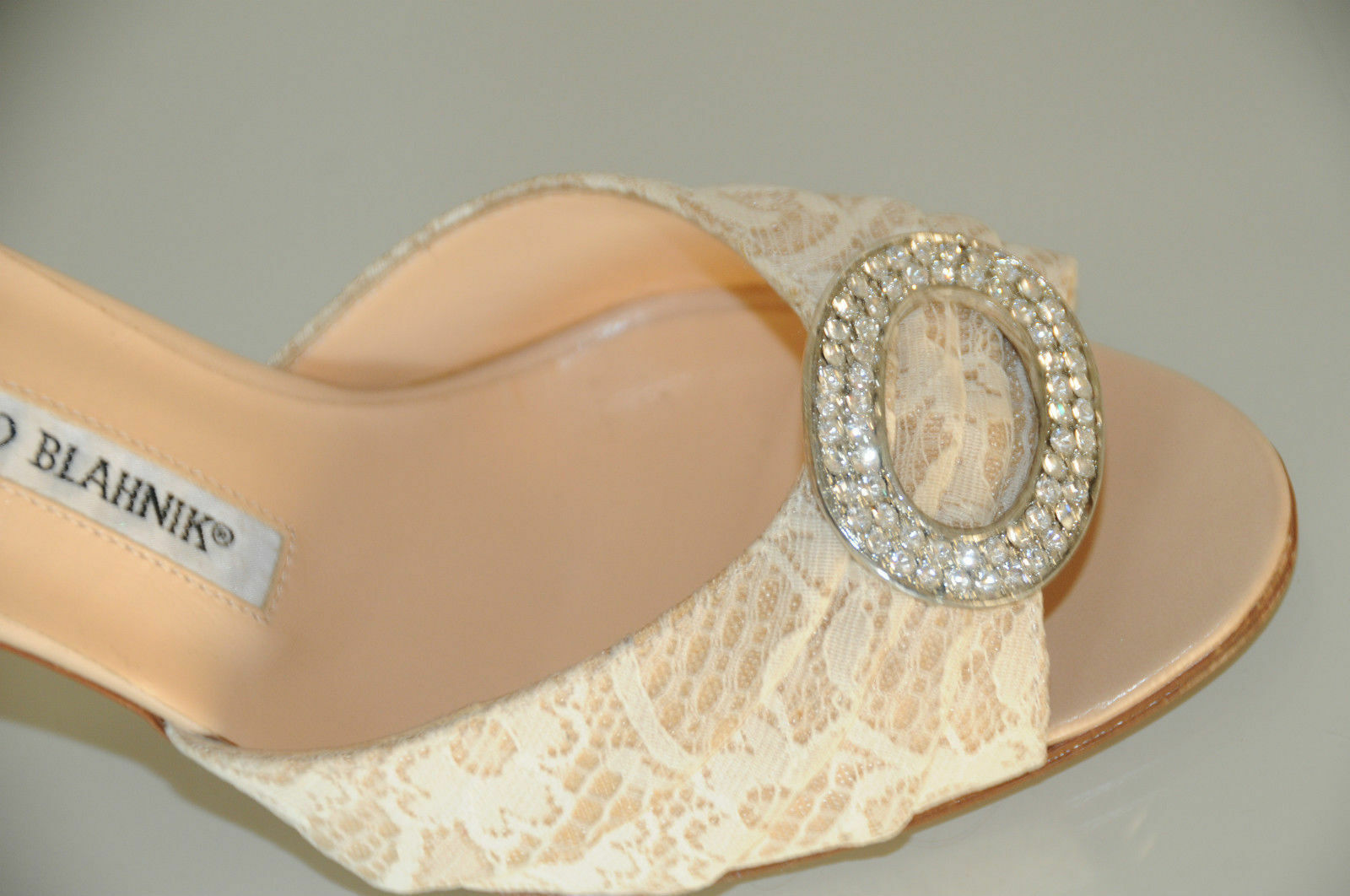 785 New MANOLO BLAHNIK SEDARABY Beige Lace Nude  Silver Jeweled  SHOES wedding