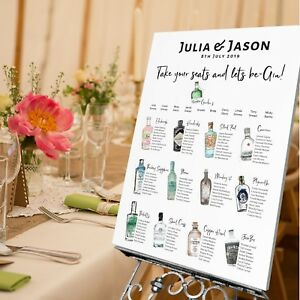 Personalised Wedding Table Seating Plan Wedding Sign Gin