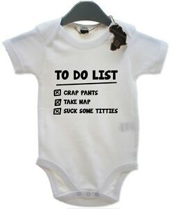 To Do List BabyGrow Newborn Playsuit Gift Vest Funny Baby ...