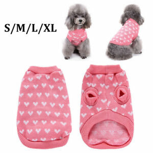 1x Pet Cat Dog Warm Jumper Knitted Sweater Clothes Knitwear Costume Coat Apparel