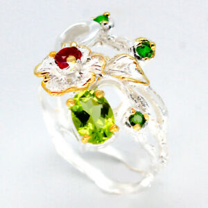 Fine-Jewelry-Antique-vintage-Natural-Peridot-925-Sterling-Silver-Ring-RVS91