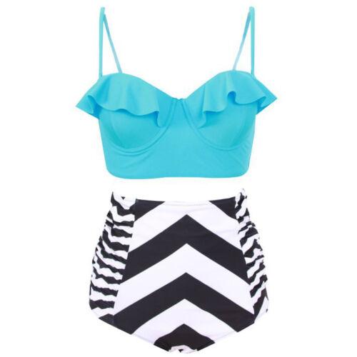 Plus Size Women High Waist Padded Bra Bikini Set Swimwear Swimsuit Beach Bathing
