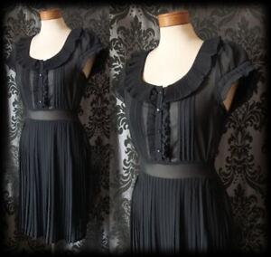 Gothic-Black-Sheer-Frilled-NIGHTSHADE-Button-Tea-Dress-8-10-Victorian-Vintage