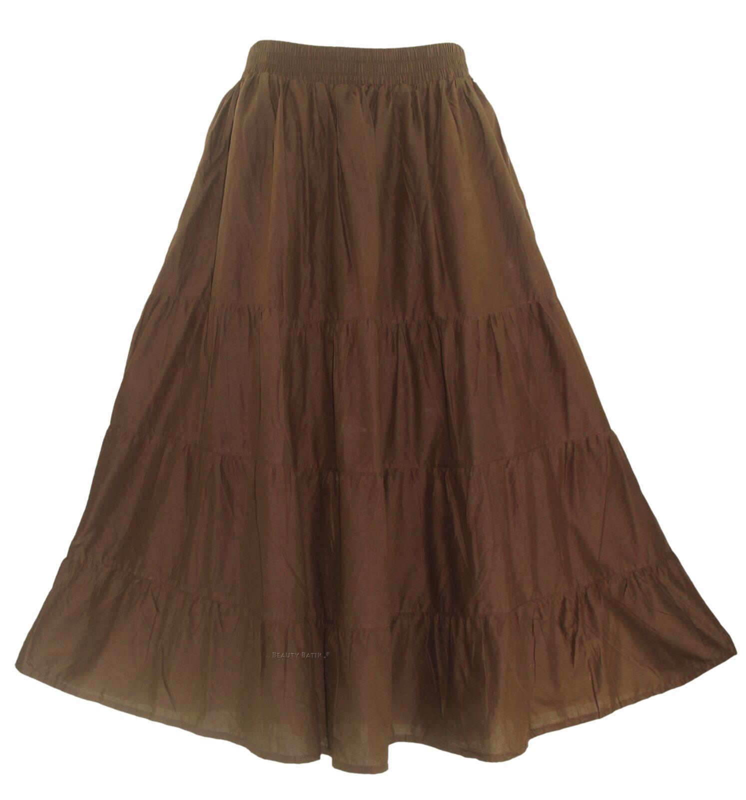 Brown Women Cotton BOHO Gypsy Long Maxi Tier Flare Skirt 1X 2X 18 20