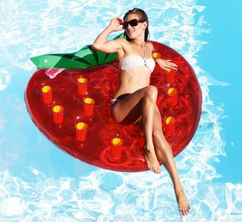 Giant Inflatable Strawberry Float Piscine Lounger Lilo Summer Beach Toy