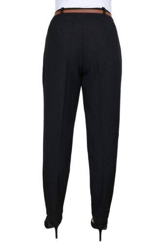 Womens Tapered Leg Smart Soft City Work Trousers FREE Belt Black Size 8-22