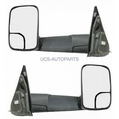 Towing Black Power Heated Side View Mirrors Pair Set for 02-09 Dodge Ram Truck