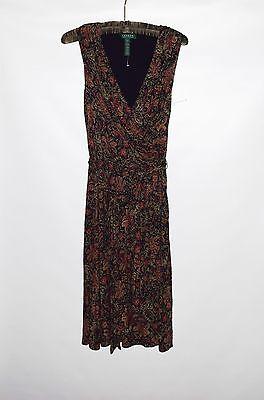 NWOT LAUREN Ralph Lauren Black Floral Sleeveless 100%Viscose Women Dress Size XS
