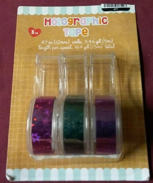 3 Spools of Jewel Tone Star Pattern Holographic Tape Rolls Pack of 3-9 Total