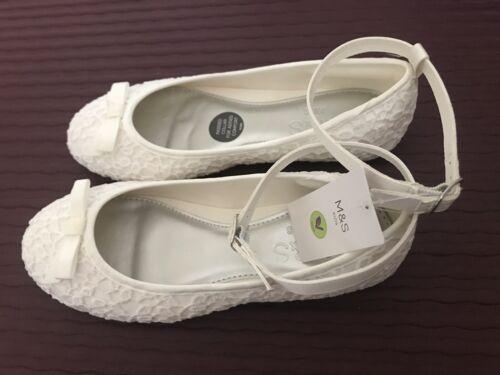 M/&s Vegan Femmes//Enfants Blanc//Ivoire Dentelle Plat Chaussures Avec Amovible Bretelles