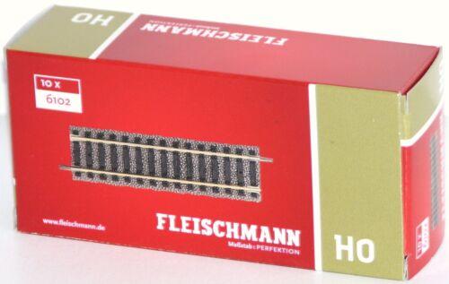 OVP 10 Stück Fleischmann H0 6102-S Gerades Gleis Länge 105 mm - NEU