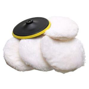 5Pcs-Polisher-Buffer-kit-Soft-Wool-Bonnet-Pad-White-4-inch-Z7R7-YG