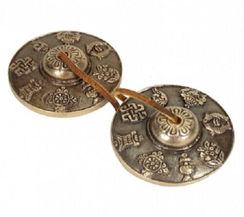 Zimbel Tingsha 8 Glücksverheißende Symbole Nepal Lederband