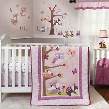 NURSERY 3pc FAIRY TALE Animal BEDDING SET Baby Crib Pink Purple Girls Owl Woods