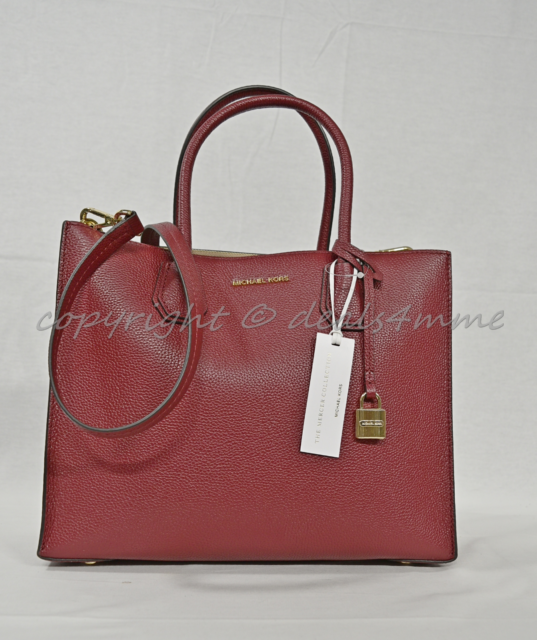 43f254a421eb Michael Kors Mercer Large Leather Convertible Tote/Shoulder Bag in Cherry  Red