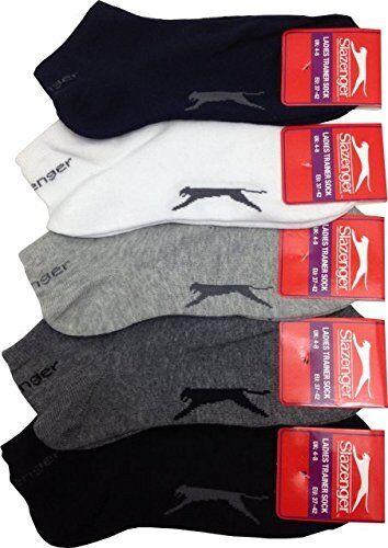5 Pair Slazenger Mens Womens Trainer Socks White Black Grey Navy Size 7-11