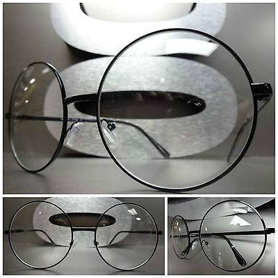 Men's or Women OVERSIZE VINTAGE Clear Lens EYE GLASSES Round Black Fashion Frame