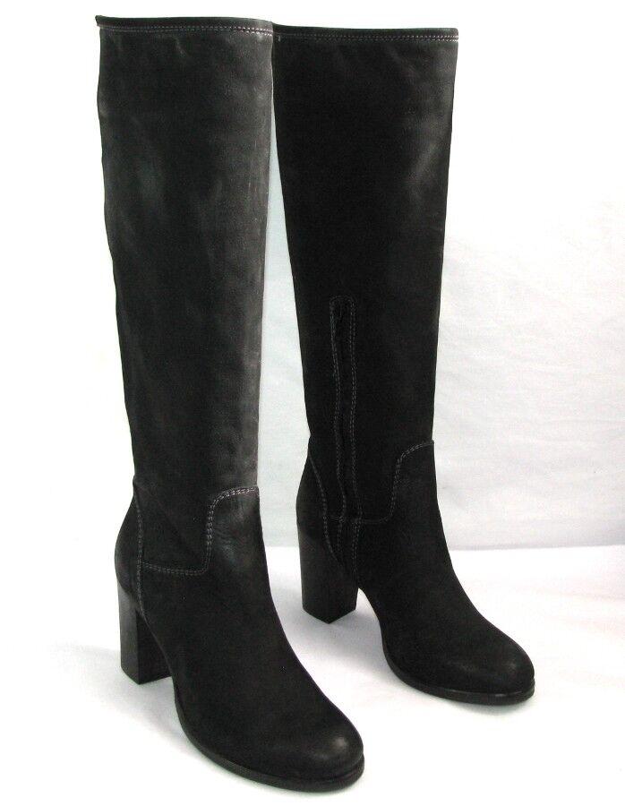 LOOKING botas talons 8 cm zip tout cuir negro 35 italien NEUF