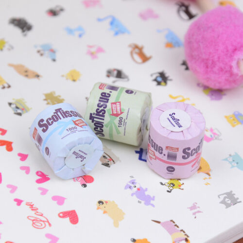 3Pcs Roll of bathroom tissue toilet paper 1:12 dollhouse miniature  GY